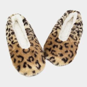 Leopard Black & Brown Puffy Slippers Non Skid